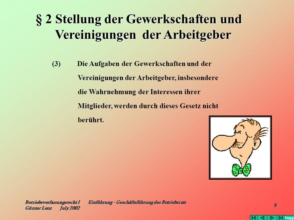 Betriebsverfassungsrecht I Einführung - Geschäftsführung des Betriebsrats Günter Lenz July 2002 5 (3) Die Aufgaben der Gewerkschaften und der Vereinig