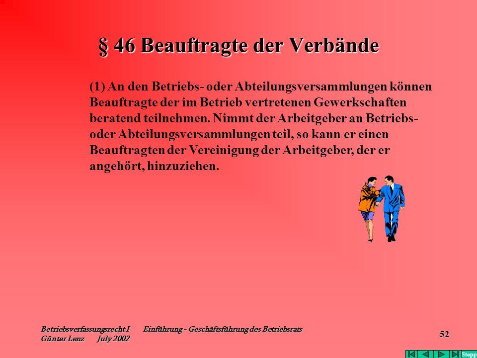 Betriebsverfassungsrecht I Einführung - Geschäftsführung des Betriebsrats Günter Lenz July 2002 52 § 46 Beauftragte der Verbände (1) An den Betriebs-