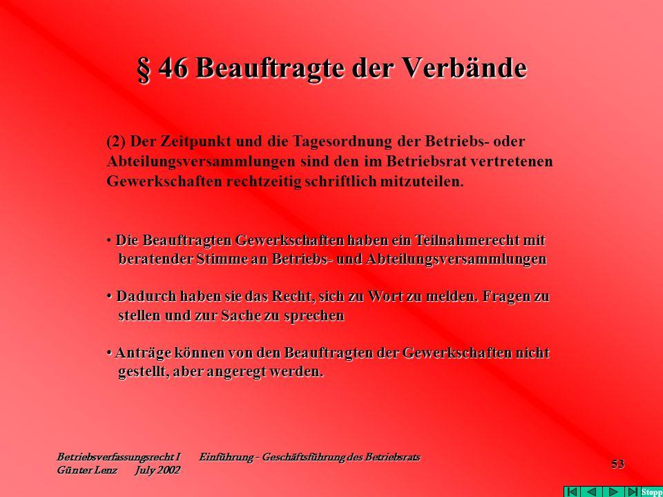Betriebsverfassungsrecht I Einführung - Geschäftsführung des Betriebsrats Günter Lenz July 2002 53 § 46 Beauftragte der Verbände (2) Der Zeitpunkt und