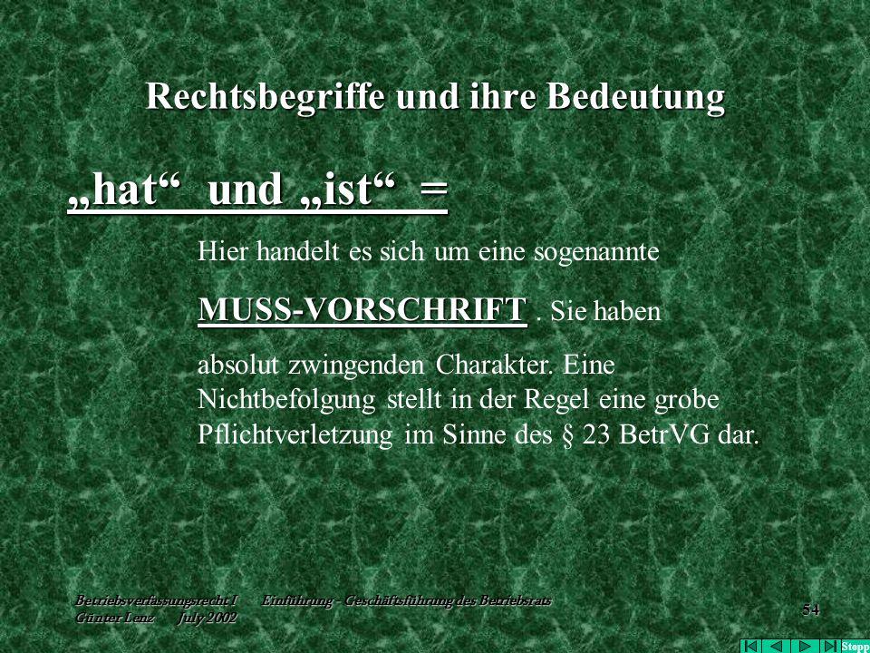 """Betriebsverfassungsrecht I Einführung - Geschäftsführung des Betriebsrats Günter Lenz July 2002 54 Rechtsbegriffe und ihre Bedeutung """"hat"""" und """"ist"""" ="""
