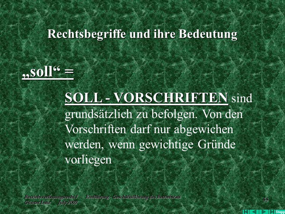 """Betriebsverfassungsrecht I Einführung - Geschäftsführung des Betriebsrats Günter Lenz July 2002 55 Rechtsbegriffe und ihre Bedeutung """"soll"""" = SOLL - V"""