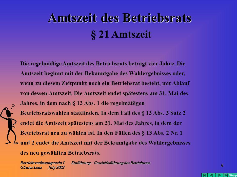 Betriebsverfassungsrecht I Einführung - Geschäftsführung des Betriebsrats Günter Lenz July 2002 6 Die regelmäßige Amtszeit des Betriebsrats beträgt vi