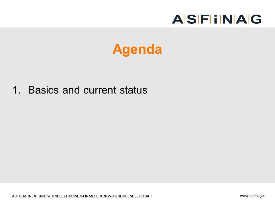 AUTOBAHNEN- UND SCHNELLSTRASSEN-FINANZIERUNGS-AKTIENGESELLSCHAFT www.asfinag.at Agenda 1.Basics and current status