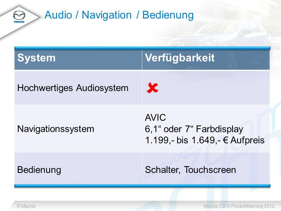"""© MazdaMazda CX-5 Produkttraining 2012 Audio / Navigation / Bedienung SystemVerfügbarkeit Hochwertiges Audiosystem  Navigationssystem AVIC 6,1"""" oder"""