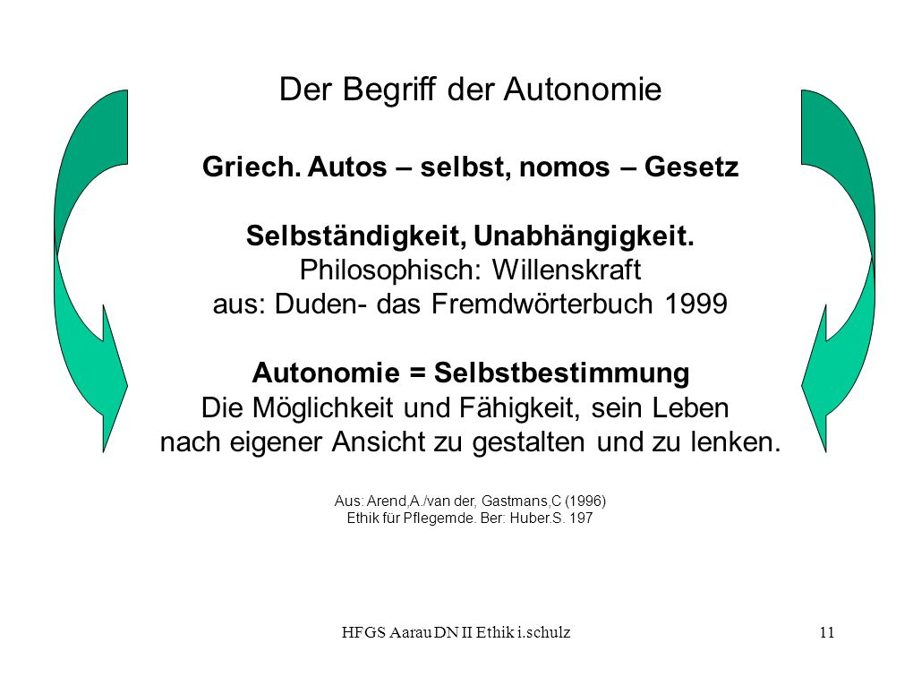 HFGS Aarau DN II Ethik i.schulz11 Der Begriff der Autonomie Griech. Autos – selbst, nomos – Gesetz Selbständigkeit, Unabhängigkeit. Philosophisch: Wil
