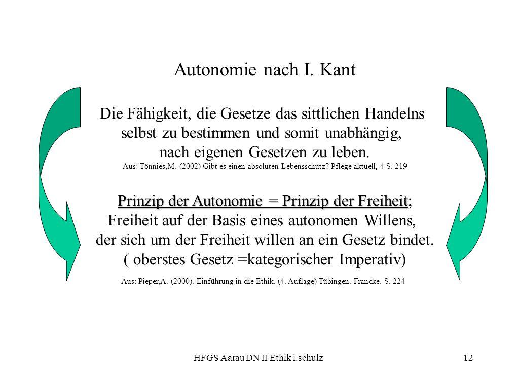 HFGS Aarau DN II Ethik i.schulz12 Autonomie nach I. Kant Die Fähigkeit, die Gesetze das sittlichen Handelns selbst zu bestimmen und somit unabhängig,