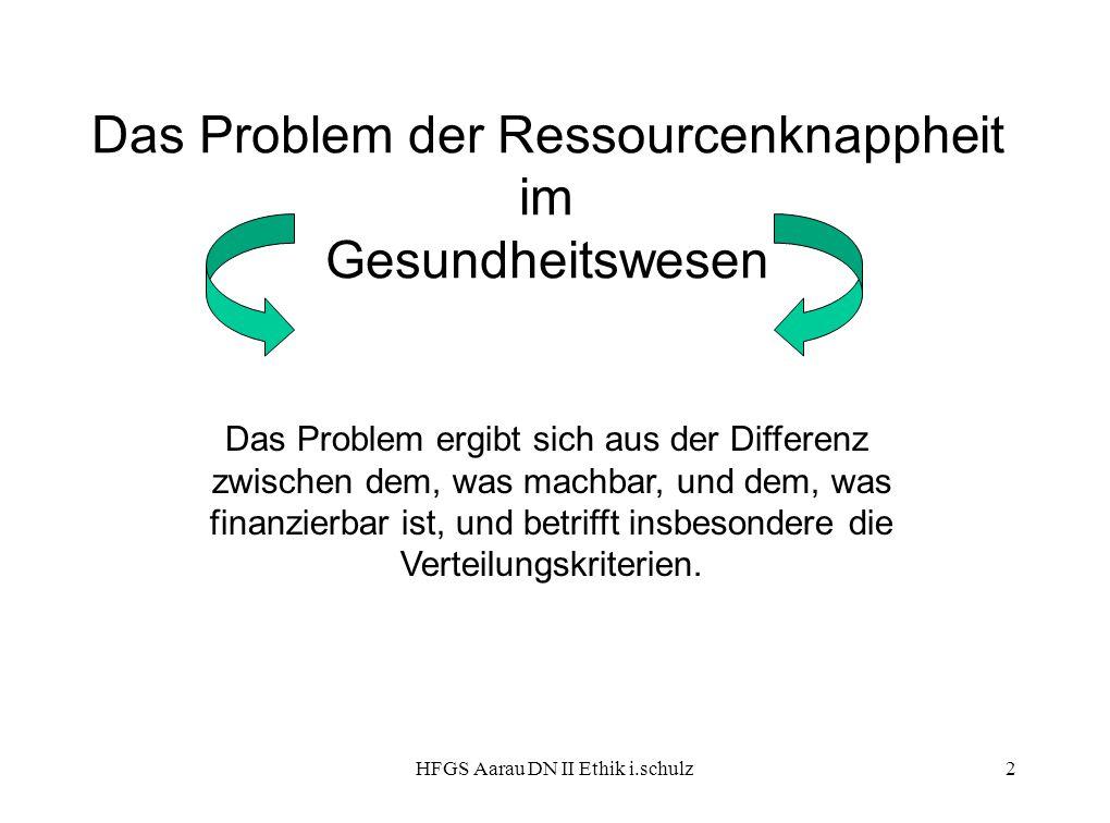 HFGS Aarau DN II Ethik i.schulz2 Das Problem der Ressourcenknappheit im Gesundheitswesen Das Problem ergibt sich aus der Differenz zwischen dem, was m