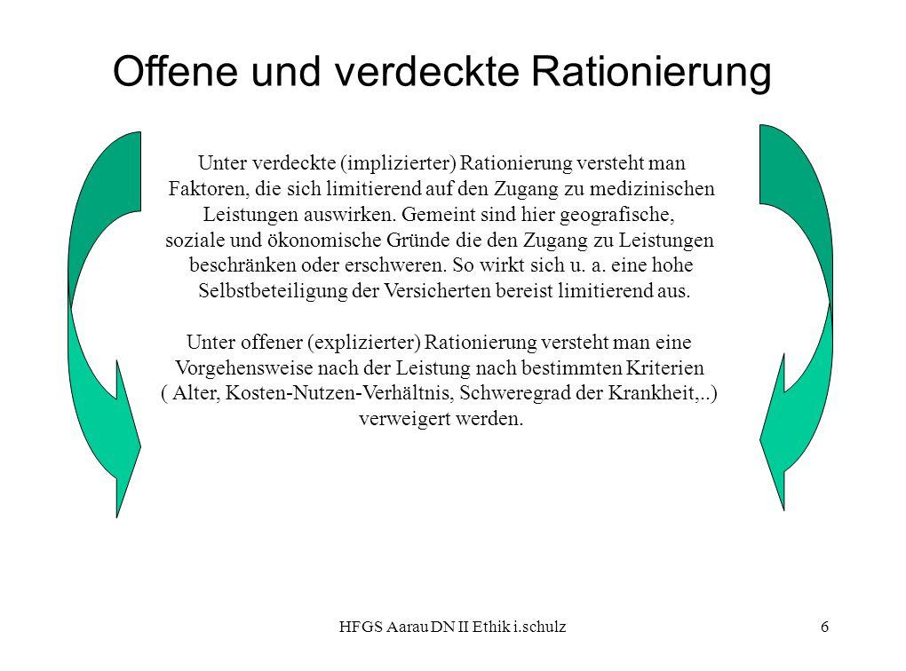 HFGS Aarau DN II Ethik i.schulz6 Offene und verdeckte Rationierung Unter verdeckte (implizierter) Rationierung versteht man Faktoren, die sich limitie