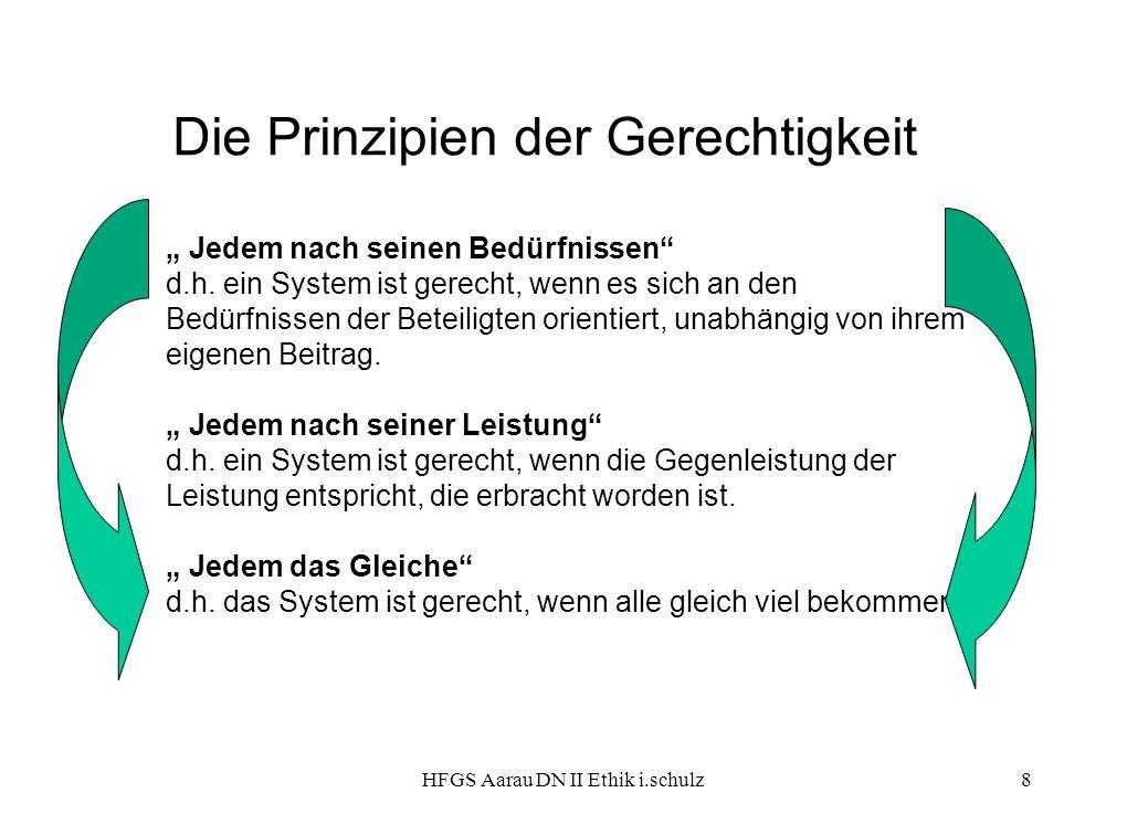 """HFGS Aarau DN II Ethik i.schulz8 Die Prinzipien der Gerechtigkeit """" Jedem nach seinen Bedürfnissen"""" d.h. ein System ist gerecht, wenn es sich an den B"""