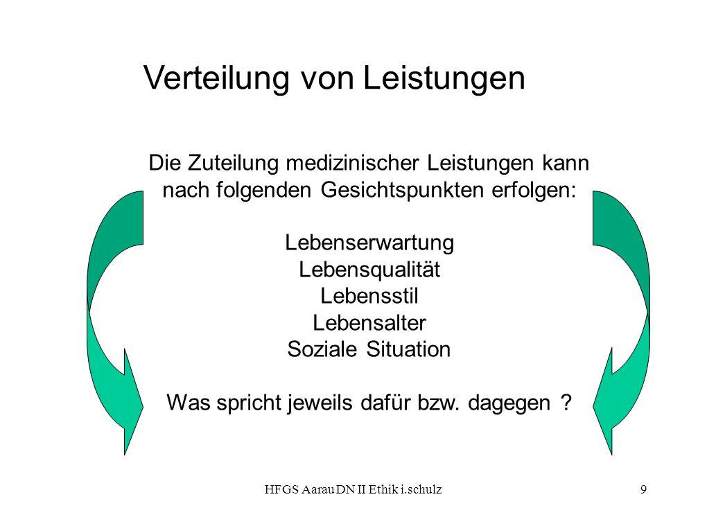 HFGS Aarau DN II Ethik i.schulz9 Verteilung von Leistungen Die Zuteilung medizinischer Leistungen kann nach folgenden Gesichtspunkten erfolgen: Lebens