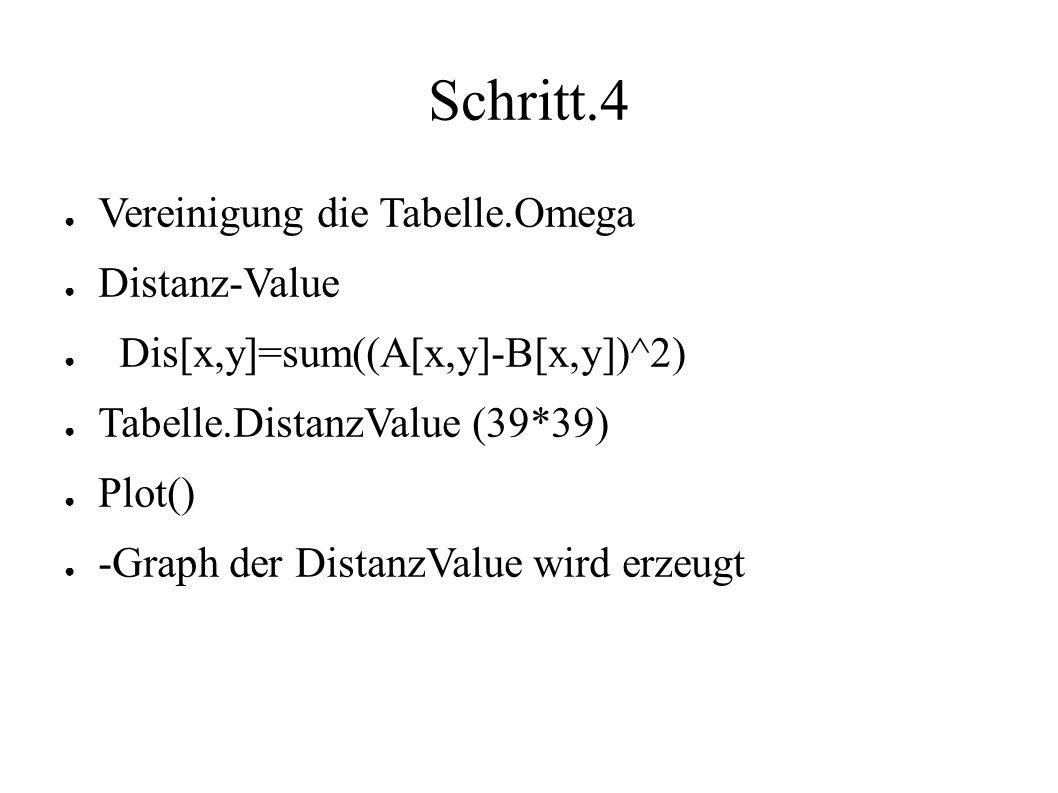 Schritt.4 ● Vereinigung die Tabelle.Omega ● Distanz-Value ● Dis[x,y]=sum((A[x,y]-B[x,y])^2) ● Tabelle.DistanzValue (39*39) ● Plot() ● -Graph der DistanzValue wird erzeugt