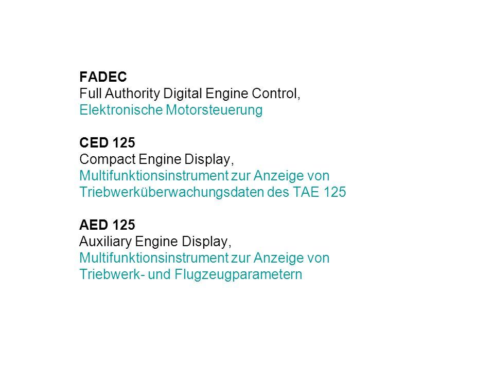 FADEC Full Authority Digital Engine Control, Elektronische Motorsteuerung CED 125 Compact Engine Display, Multifunktionsinstrument zur Anzeige von Tri