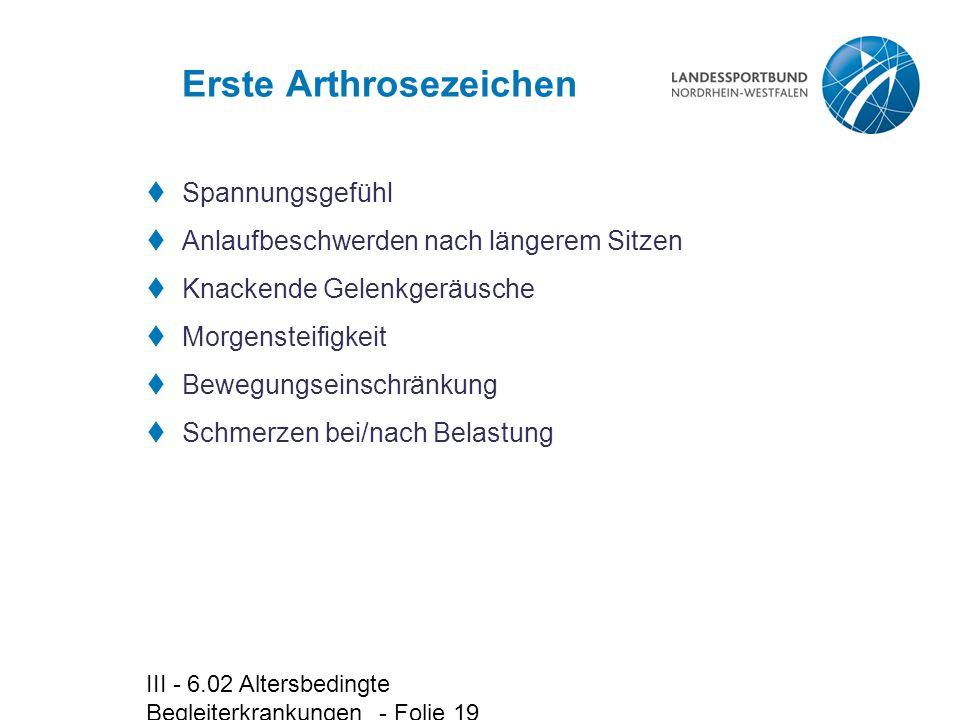 III - 6.02 Altersbedingte Begleiterkrankungen - Folie 19 Erste Arthrosezeichen  Spannungsgefühl  Anlaufbeschwerden nach längerem Sitzen  Knackende