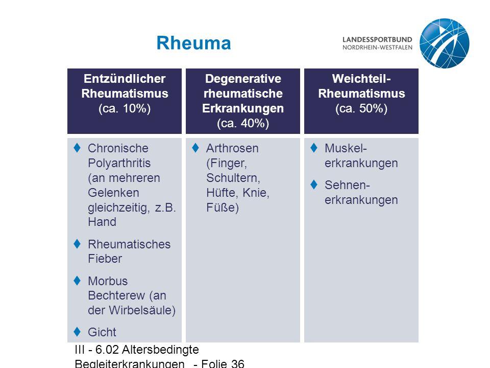 III - 6.02 Altersbedingte Begleiterkrankungen - Folie 36 Rheuma Entzündlicher Rheumatismus (ca. 10%)  Chronische Polyarthritis (an mehreren Gelenken