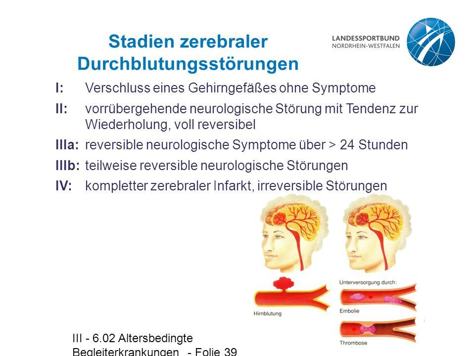 III - 6.02 Altersbedingte Begleiterkrankungen - Folie 39 Stadien zerebraler Durchblutungsstörungen I:Verschluss eines Gehirngefäßes ohne Symptome II:v