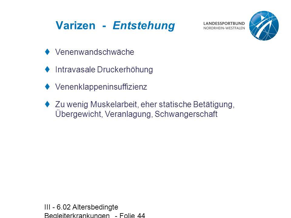 III - 6.02 Altersbedingte Begleiterkrankungen - Folie 44 Varizen - Entstehung  Venenwandschwäche  Intravasale Druckerhöhung  Venenklappeninsuffizie