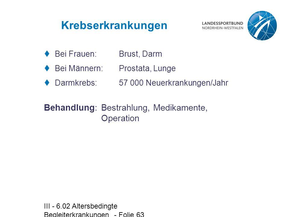 III - 6.02 Altersbedingte Begleiterkrankungen - Folie 63 Krebserkrankungen  Bei Frauen: Brust, Darm  Bei Männern:Prostata, Lunge  Darmkrebs:57 000