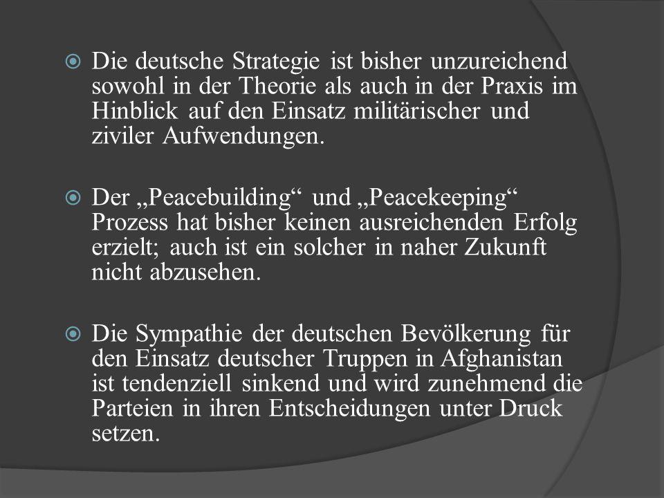  Die deutsche Strategie ist bisher unzureichend sowohl in der Theorie als auch in der Praxis im Hinblick auf den Einsatz militärischer und ziviler Au
