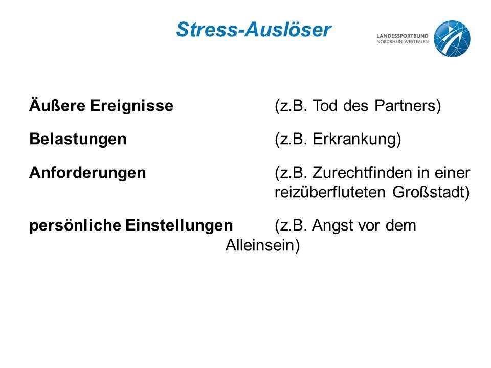 Stress-Auslöser Äußere Ereignisse(z.B.Tod des Partners) Belastungen(z.B.