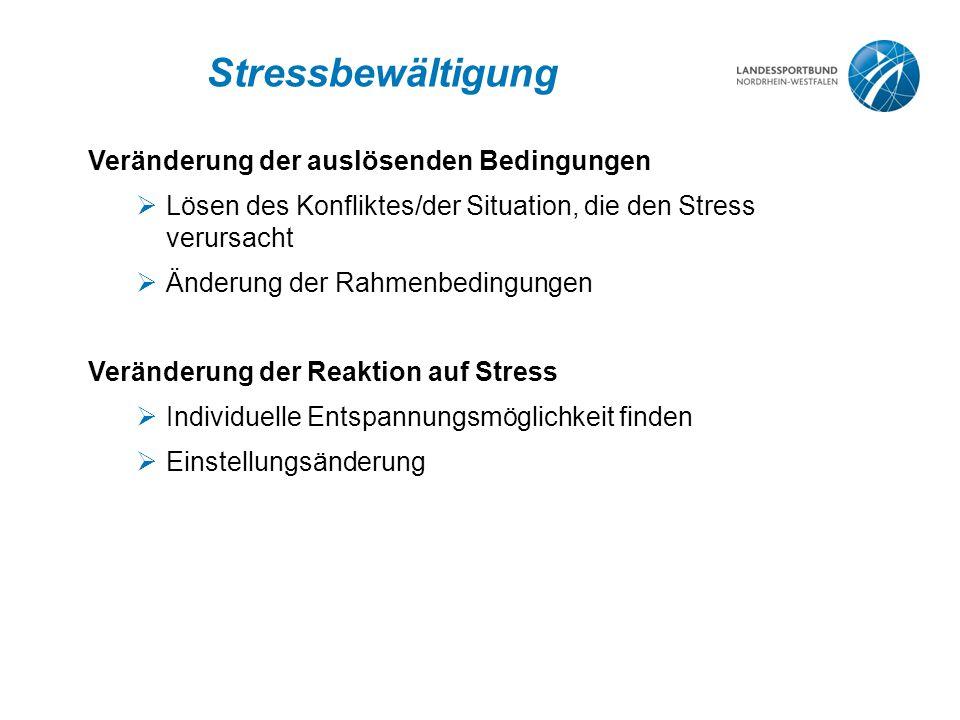 Stressbewältigung Veränderung der auslösenden Bedingungen  Lösen des Konfliktes/der Situation, die den Stress verursacht  Änderung der Rahmenbedingungen Veränderung der Reaktion auf Stress  Individuelle Entspannungsmöglichkeit finden  Einstellungsänderung