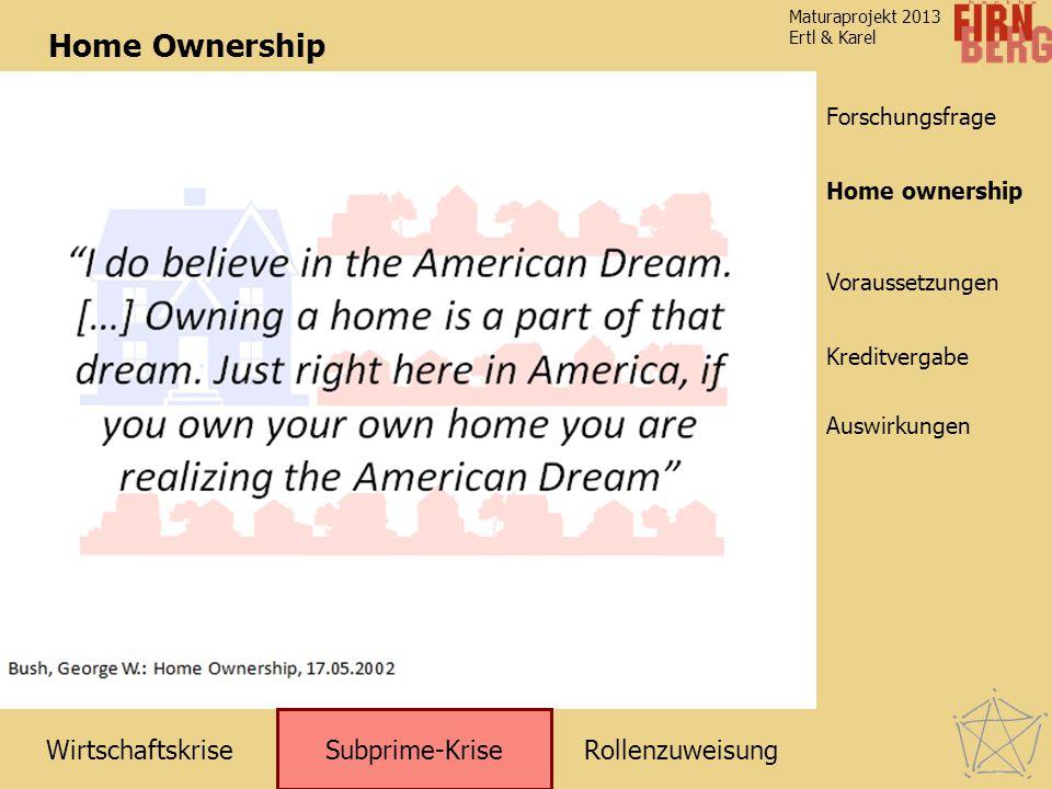 RollenzuweisungWirtschaftskrise Subprime-Krise Kreditvergabe Auswirkungen Voraussetzungen Home ownership Forschungsfrage Maturaprojekt 2013 Ertl & Kar