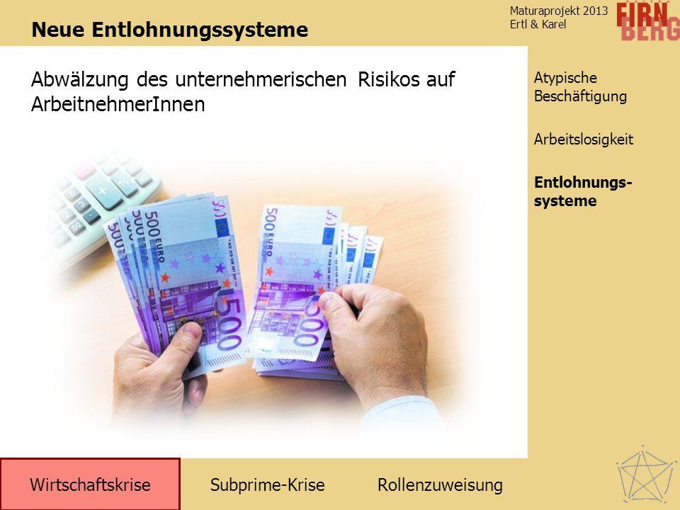 Subprime-KriseRollenzuweisung Wirtschaftskrise Atypische Beschäftigung Entlohnungs- systeme Arbeitslosigkeit Maturaprojekt 2013 Ertl & Karel Neue Entl
