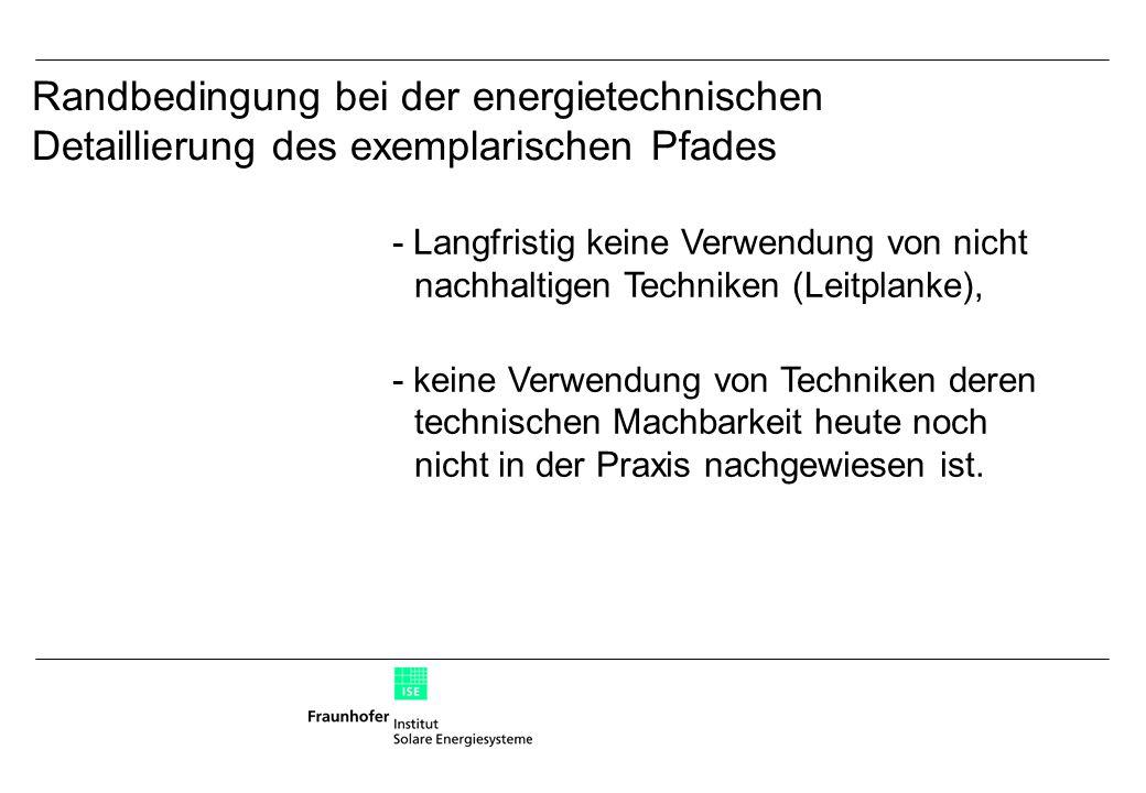 - Langfristig keine Verwendung von nicht nachhaltigen Techniken (Leitplanke), - keine Verwendung von Techniken deren technischen Machbarkeit heute noch nicht in der Praxis nachgewiesen ist.