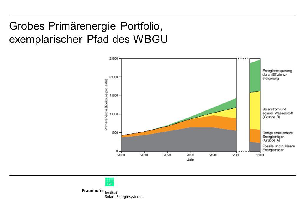 Grobes Primärenergie Portfolio, exemplarischer Pfad des WBGU