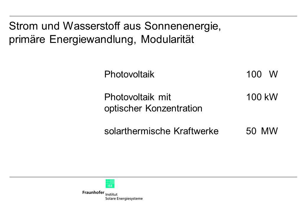 Photovoltaik100W Photovoltaik mit100kW optischer Konzentration solarthermische Kraftwerke50MW Strom und Wasserstoff aus Sonnenenergie, primäre Energiewandlung, Modularität