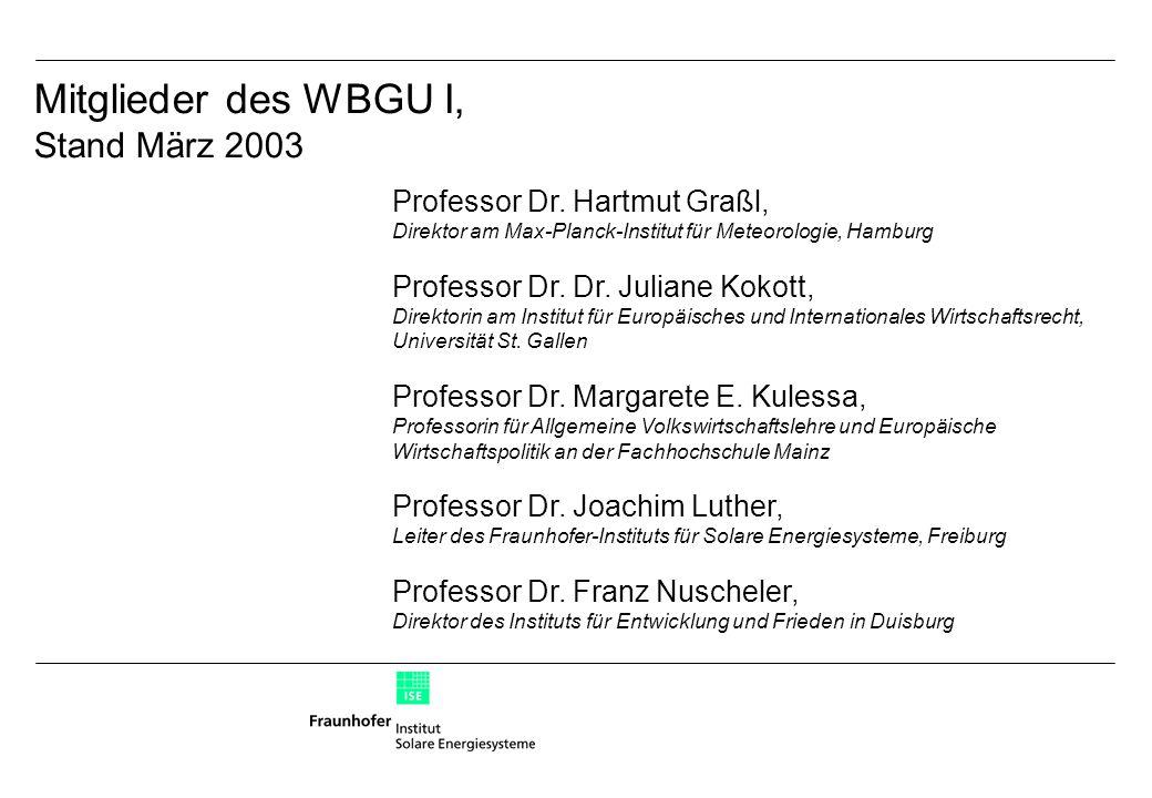 Mitglieder des WBGU I, Stand März 2003 Professor Dr.