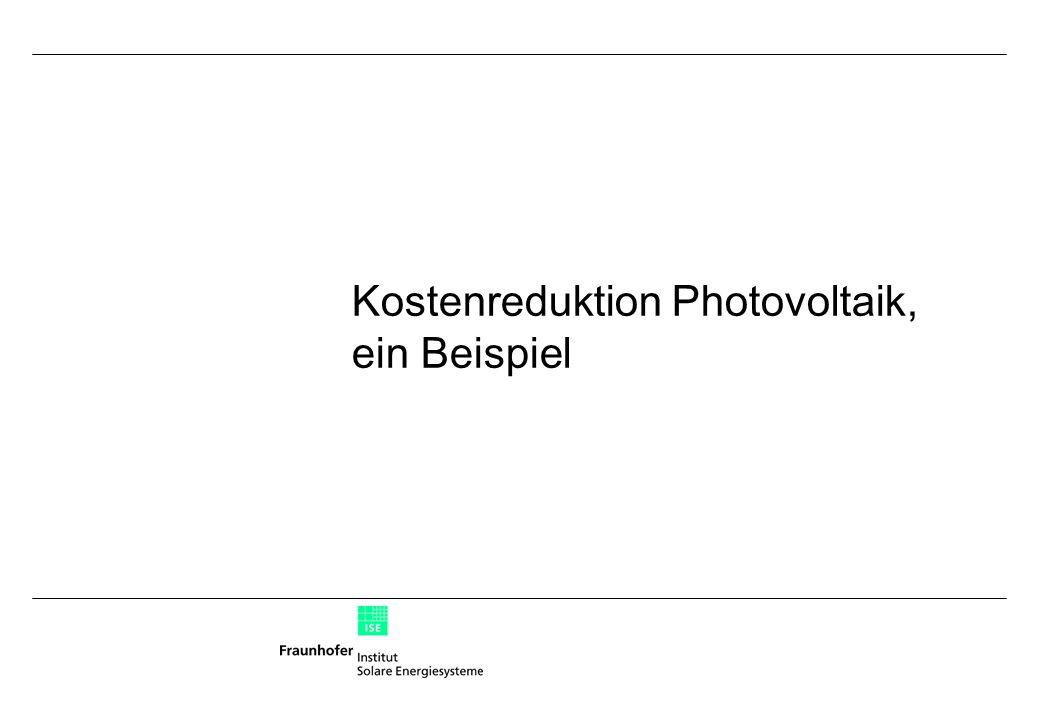 Kostenreduktion Photovoltaik, ein Beispiel