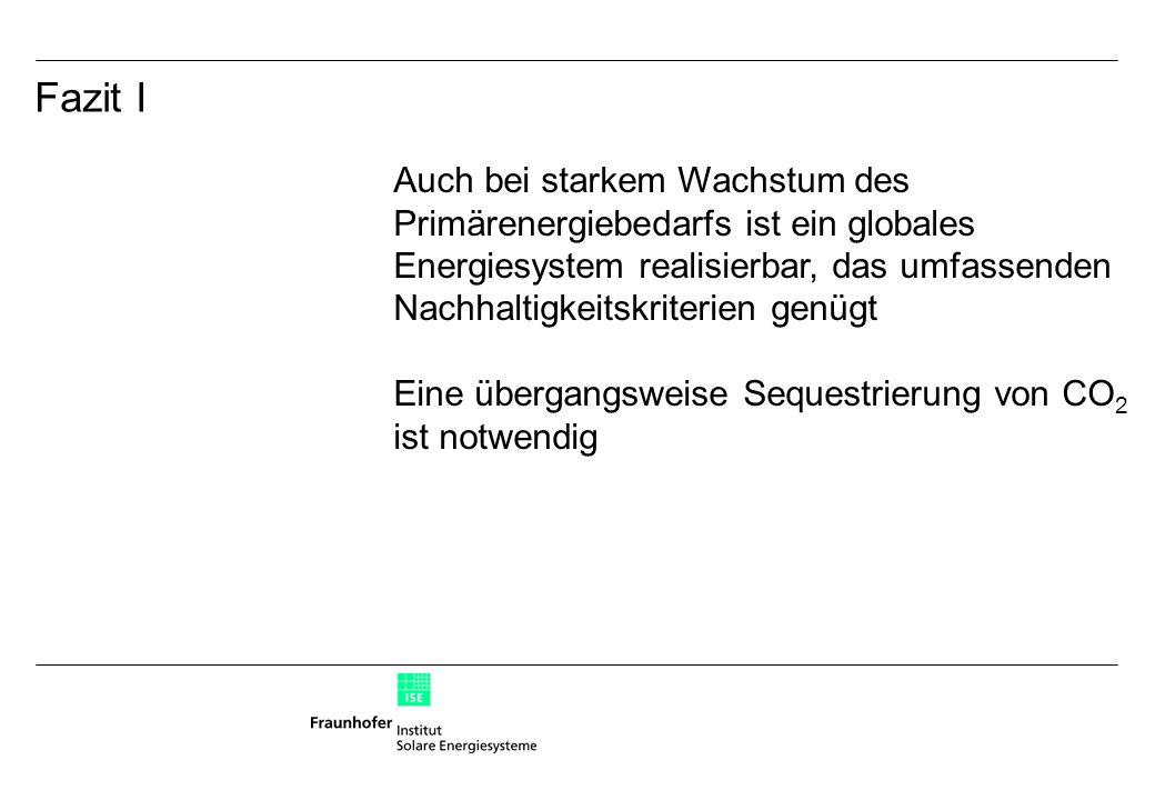 Auch bei starkem Wachstum des Primärenergiebedarfs ist ein globales Energiesystem realisierbar, das umfassenden Nachhaltigkeitskriterien genügt Eine übergangsweise Sequestrierung von CO 2 ist notwendig Fazit I