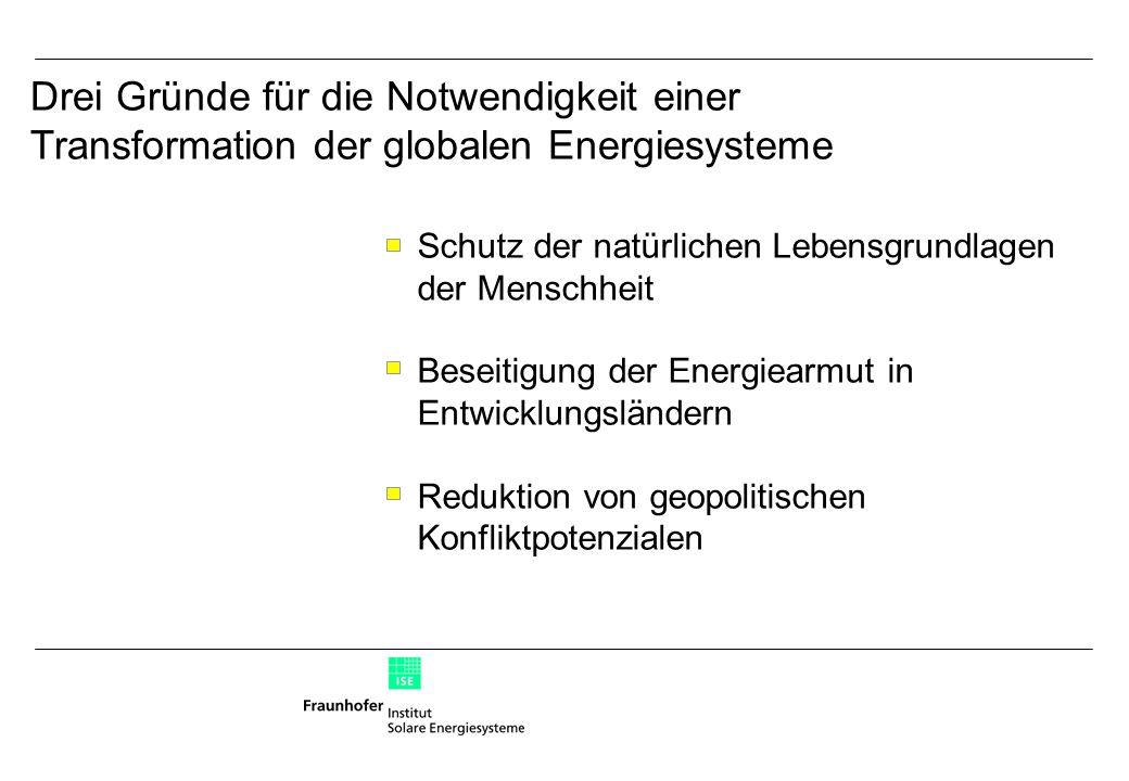 Schutz der natürlichen Lebensgrundlagen der Menschheit Beseitigung der Energiearmut in Entwicklungsländern Reduktion von geopolitischen Konfliktpotenzialen Drei Gründe für die Notwendigkeit einer Transformation der globalen Energiesysteme