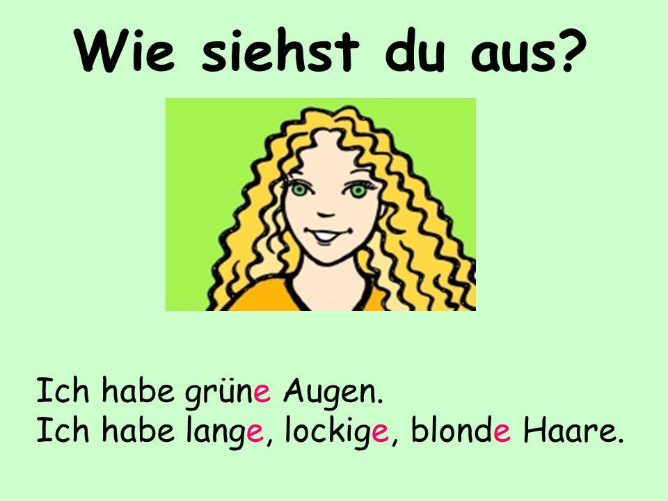Wie siehst du aus? Ich habe grüne Augen. Ich habe lange, lockige, blonde Haare.