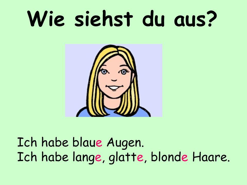 Wie siehst du aus? Ich habe blaue Augen. Ich habe lange, glatte, blonde Haare.