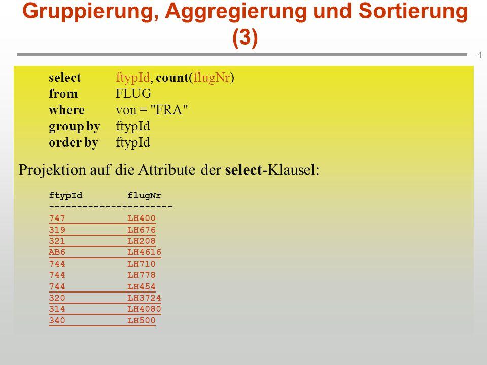 5 selectftypId, count(flugNr) fromFLUG wherevon = FRA group byftypId order byftypId Auswertung der Funktion count(flugNr): ftypId count ---------------------- 747 1 319 1 321 1 AB6 1 744 3 320 1 314 1 340 1 Gruppierung, Aggregierung und Sortierung (3) selectftypId, count(flugNr) fromFLUG wherevon = FRA group byftypId order byftypId Auswertung der Funktion count(flugNr): ftypId count ---------------------- 747 1 319 1 321 1 AB6 1 744 3 320 1 314 1 340 1