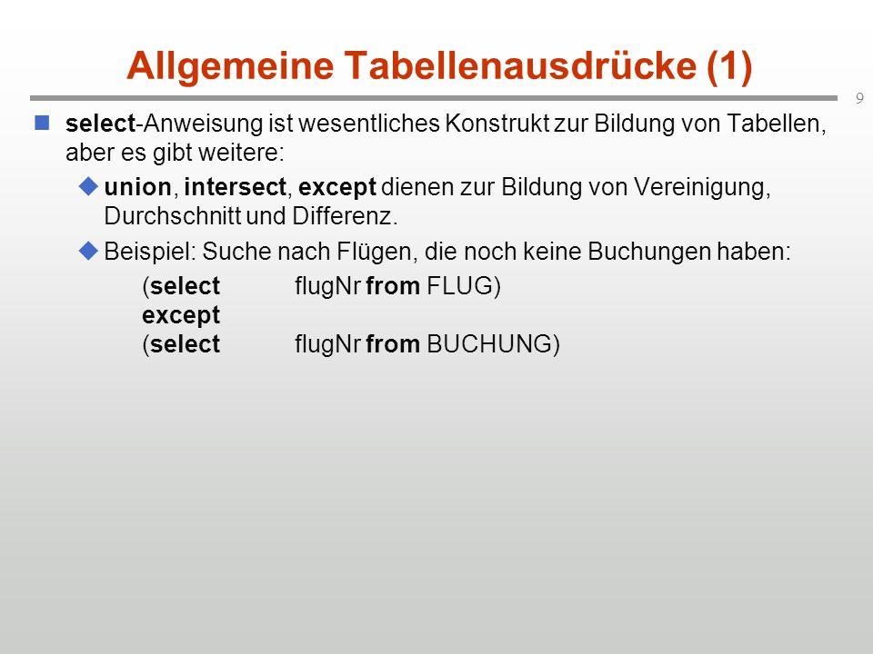 9 Allgemeine Tabellenausdrücke (1) select-Anweisung ist wesentliches Konstrukt zur Bildung von Tabellen, aber es gibt weitere:  union, intersect, except dienen zur Bildung von Vereinigung, Durchschnitt und Differenz.
