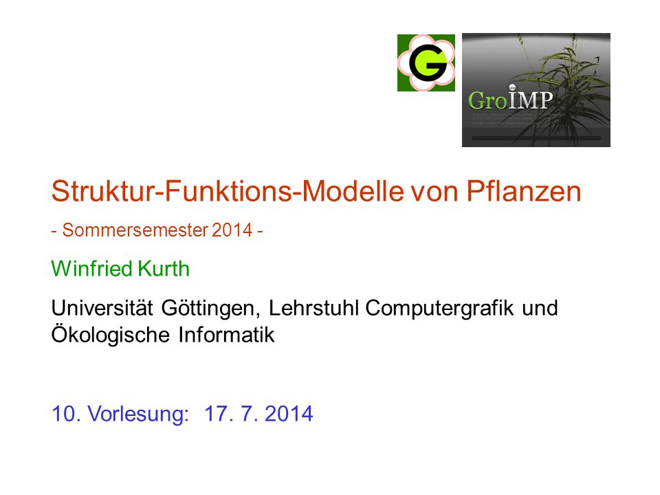 Struktur-Funktions-Modelle von Pflanzen - Sommersemester 2014 - Winfried Kurth Universität Göttingen, Lehrstuhl Computergrafik und Ökologische Informatik 10.
