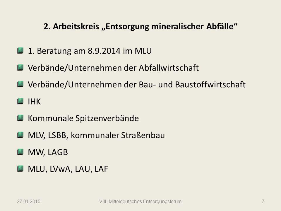 """2.Arbeitskreis """"Entsorgung mineralischer Abfälle 1."""