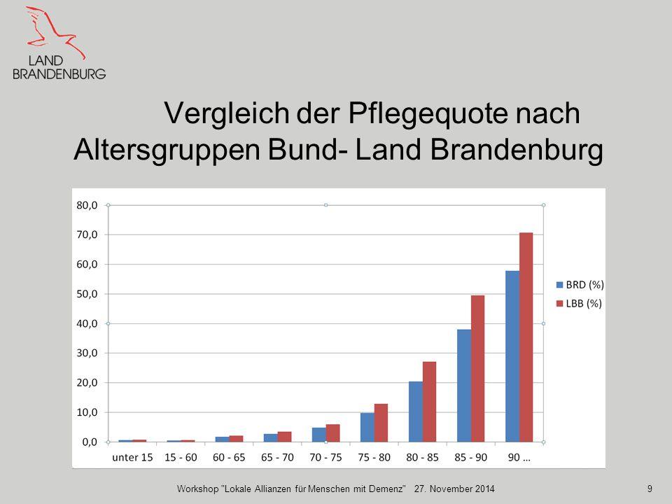Vergleich der Pflegequote nach Altersgruppen Bund- Land Brandenburg Workshop