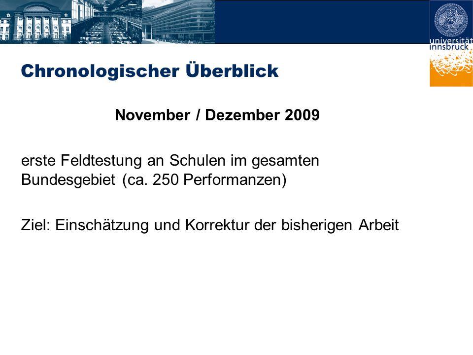 Chronologischer Überblick November / Dezember 2009 erste Feldtestung an Schulen im gesamten Bundesgebiet (ca.