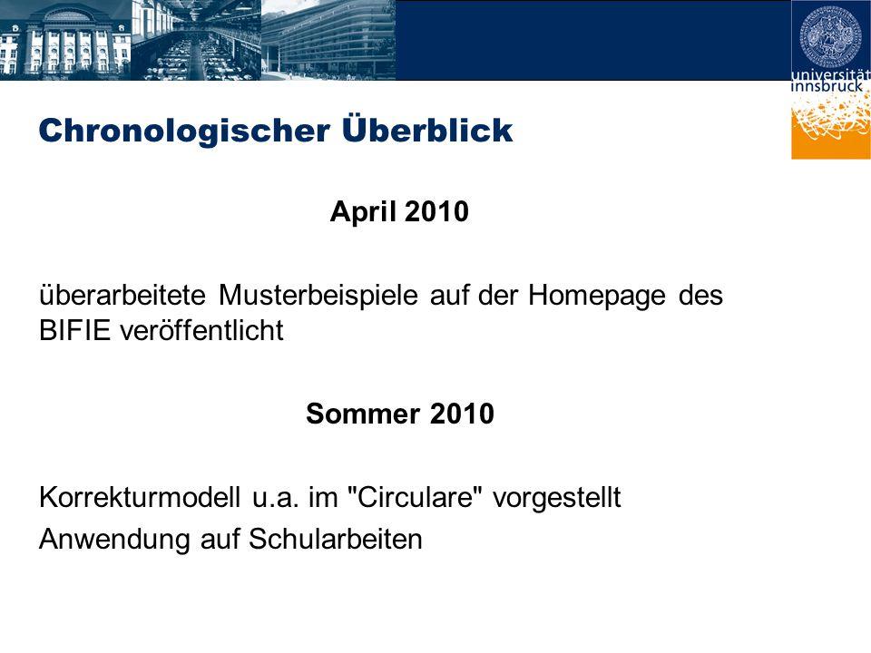Chronologischer Überblick April 2010 überarbeitete Musterbeispiele auf der Homepage des BIFIE veröffentlicht Sommer 2010 Korrekturmodell u.a.