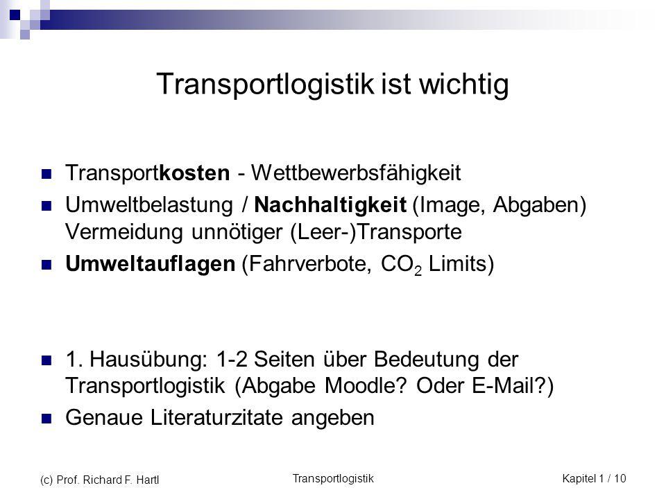 Transportlogistik ist wichtig Transportkosten - Wettbewerbsfähigkeit Umweltbelastung / Nachhaltigkeit (Image, Abgaben) Vermeidung unnötiger (Leer-)Tra