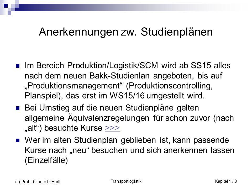 TransportlogistikKapitel 1 / 3 (c) Prof. Richard F. Hartl Anerkennungen zw. Studienplänen Im Bereich Produktion/Logistik/SCM wird ab SS15 alles nach d
