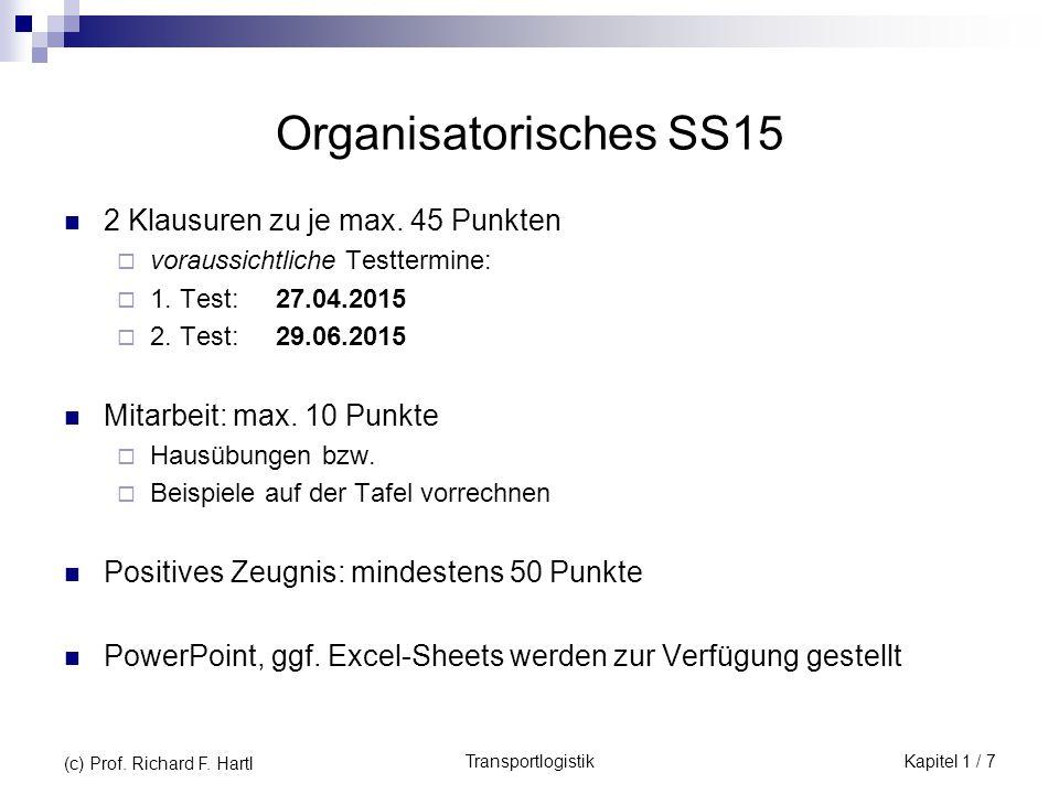 TransportlogistikKapitel 1 / 7 (c) Prof. Richard F. Hartl Organisatorisches SS15 2 Klausuren zu je max. 45 Punkten  voraussichtliche Testtermine:  1