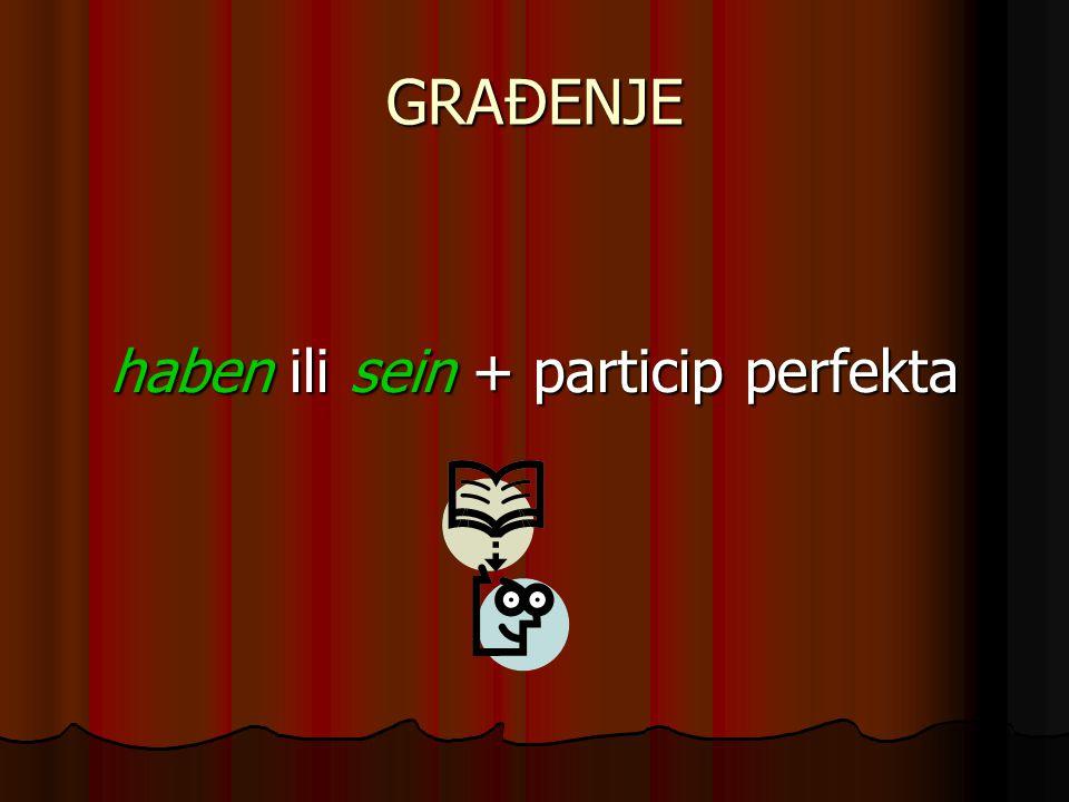 Particip perfekta Pravilni glagoli Pravilni glagolimachen ge+ mach+t arbeiten ge+arbeit+et Nepravilni glagoli gehen ge+gang+en (izmenjena glagolska osnova)