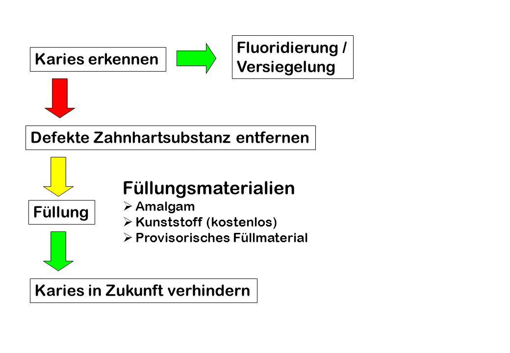 Karies erkennen Defekte Zahnhartsubstanz entfernen Karies in Zukunft verhindern Füllung Fluoridierung / Versiegelung Füllungsmaterialien  Amalgam  K