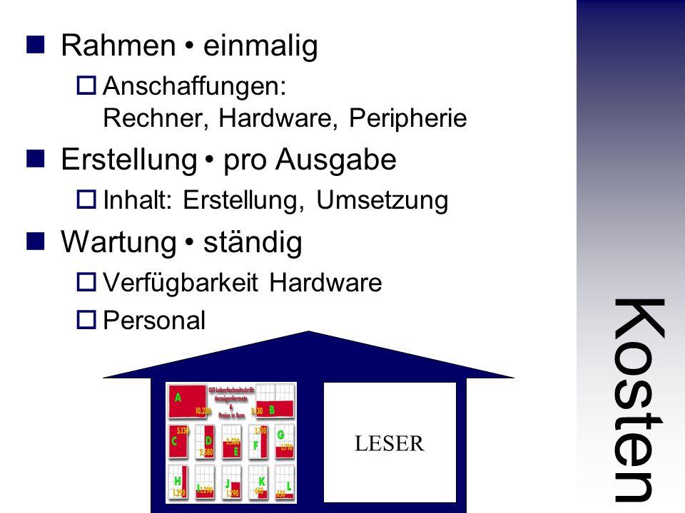 Rahmen einmalig  Anschaffungen: Rechner, Hardware, Peripherie Erstellung pro Ausgabe  Inhalt: Erstellung, Umsetzung Wartung ständig  Verfügbarkeit Hardware  Personal Kosten LESER