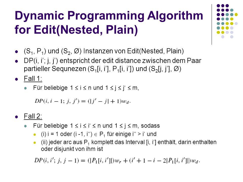 Dynamic Programming Algorithm for Edit(Nested, Plain) (S 1, P 1 ) und (S 2, Ø) Instanzen von Edit(Nested, Plain) DP(i, i'; j, j') entspricht der edit distance zwischen dem Paar partieller Sequnezen (S 1 [i, i'], P 1 [i, i']) und (S 2 [j, j'], Ø) Fall 1: Für beliebige 1  i  n und 1  j  j'  m, Fall 2: Für beliebige 1  i  i'  n und 1  j  m, sodass (i) i = 1 oder (i -1, i'')  P 1 für einige i'' > i' und (ii) jeder arc aus P 1 komplett das Interval [i, i'] enthält, darin enthalten oder disjunkt von ihm ist