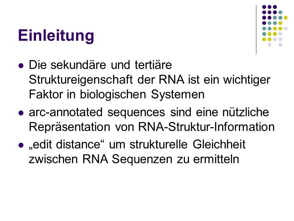 """Einleitung Die sekundäre und tertiäre Struktureigenschaft der RNA ist ein wichtiger Faktor in biologischen Systemen arc-annotated sequences sind eine nützliche Repräsentation von RNA-Struktur-Information """"edit distance um strukturelle Gleichheit zwischen RNA Sequenzen zu ermitteln"""